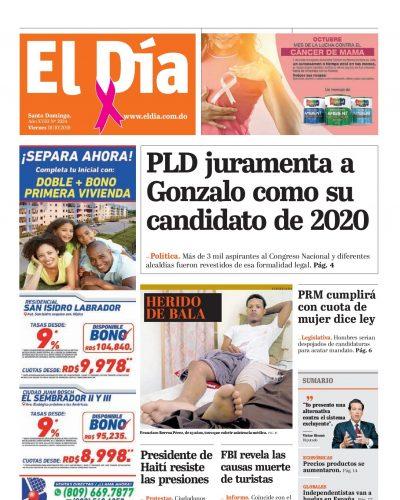 Portada Periódico El Día, Viernes 18 de Octubre, 2019