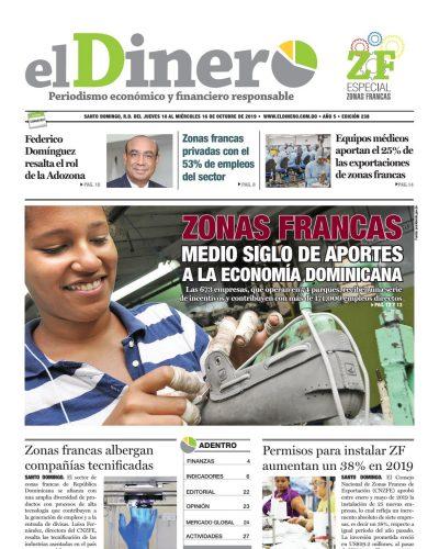 Portada Periódico El Dinero, Jueves 08 de Octubre, 2019