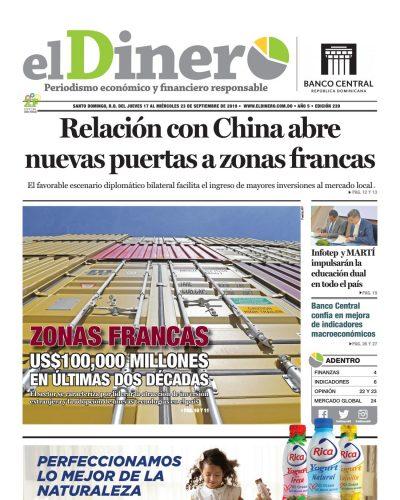 Portada Periódico El Dinero, Jueves 17 de Octubre, 2019
