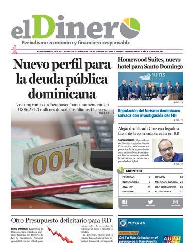 Portada Periódico El Dinero, Jueves 24 de Octubre, 2019
