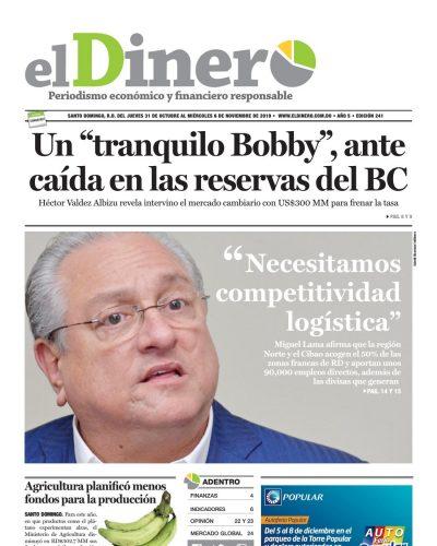 Portada Periódico El Dinero, Jueves 31 de Octubre, 2019