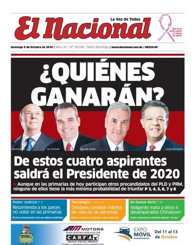 Portada Periódico El Nacional, Domingo 06 de Octubre, 2019