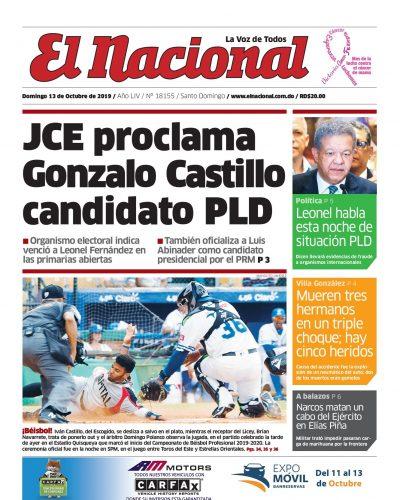 Portada Periódico El Nacional, Domingo 13 de Octubre, 2019