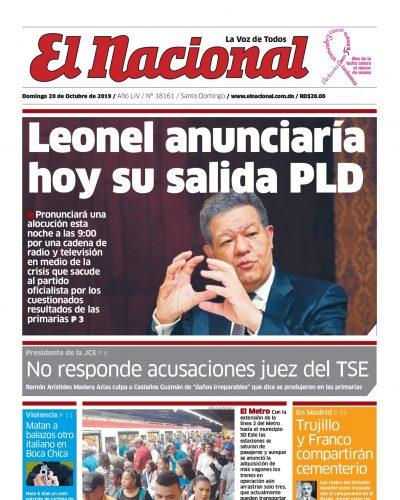 Portada Periódico El Nacional, Domingo 20 de Octubre, 2019