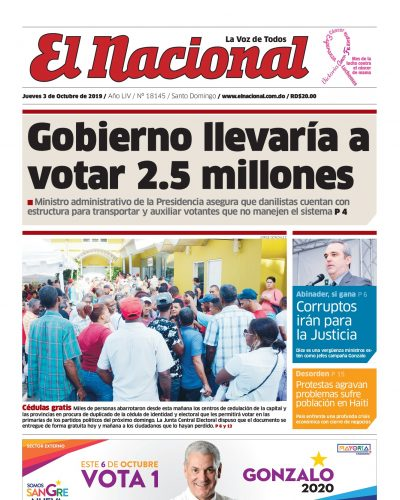 Portada Periódico El Nacional, Jueves 03 de Octubre, 2019