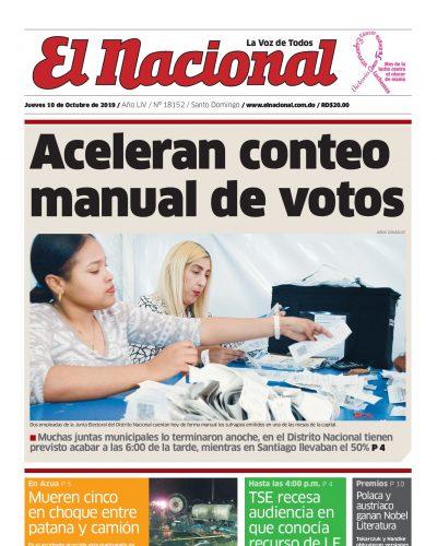 Portada Periódico El Nacional, Jueves 08 de Octubre, 2019