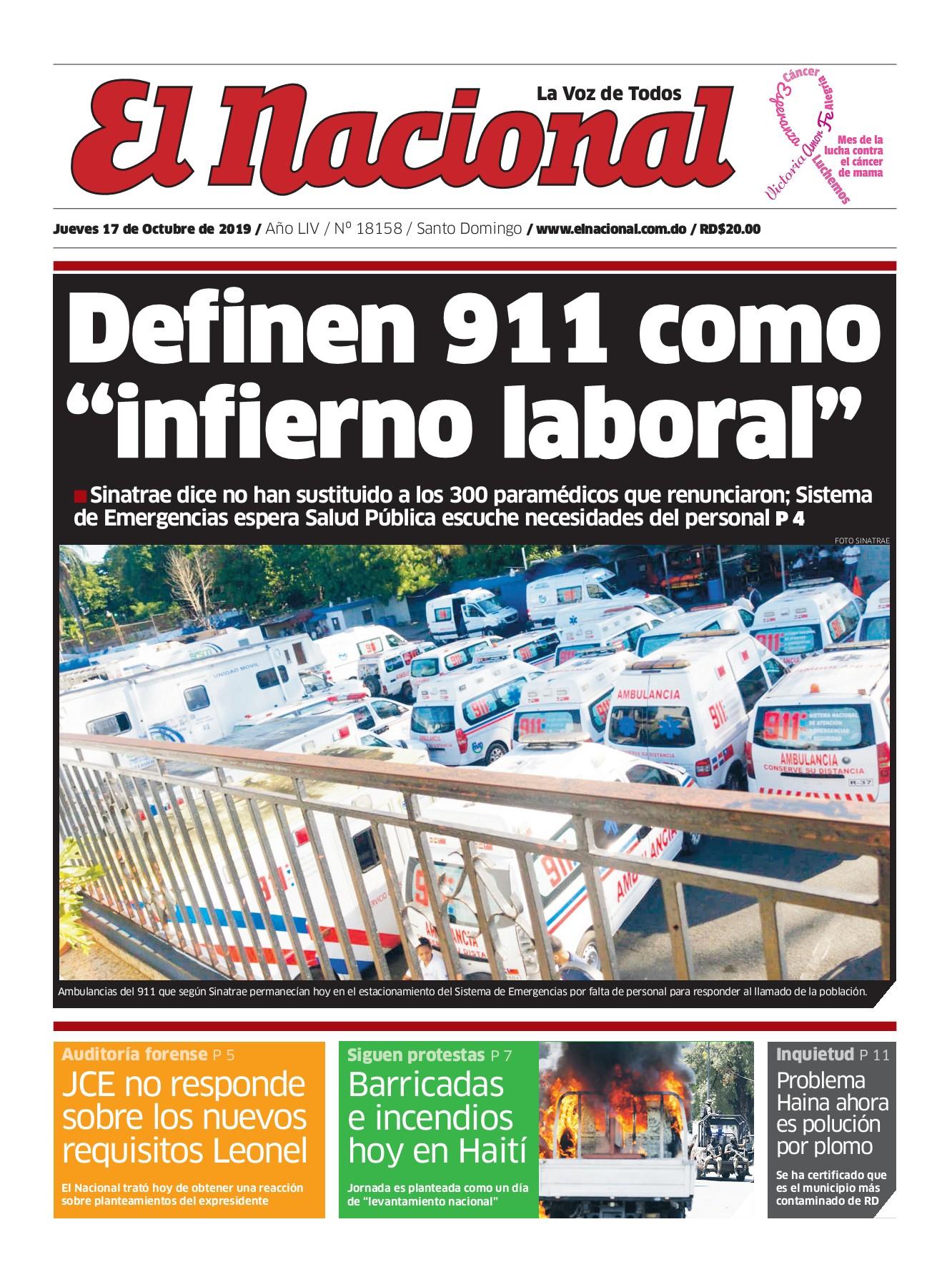 Portada Periódico El Nacional, Jueves 17 de Octubre, 2019