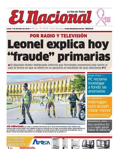 Portada Periódico El Nacional, Lunes 05 de Octubre, 2019