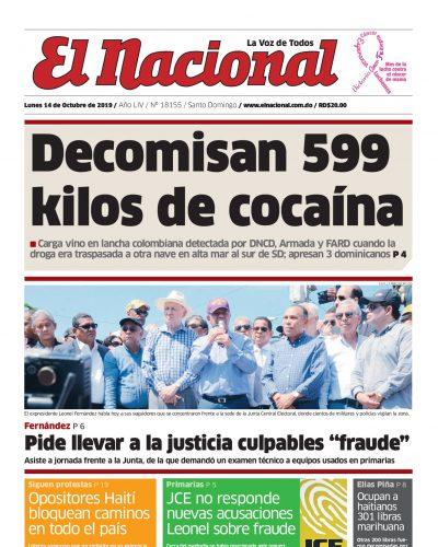 Portada Periódico El Nacional, Lunes 14 de Octubre, 2019