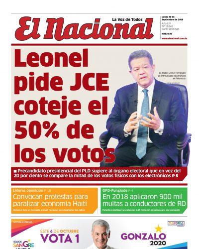 Portada Periódico El Nacional, Lunes 30 de Septiembre, 2019