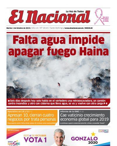 Portada Periódico El Nacional, Martes 01 de Octubre, 2019