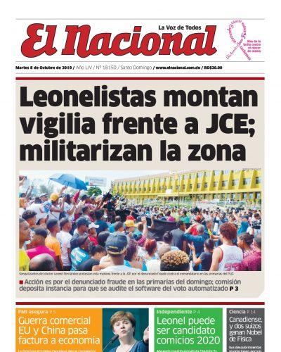 Portada Periódico El Nacional, Martes 06 de Octubre, 2019