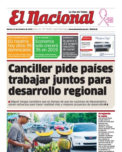 Portada Periódico El Nacional, Martes 15 de Octubre, 2019