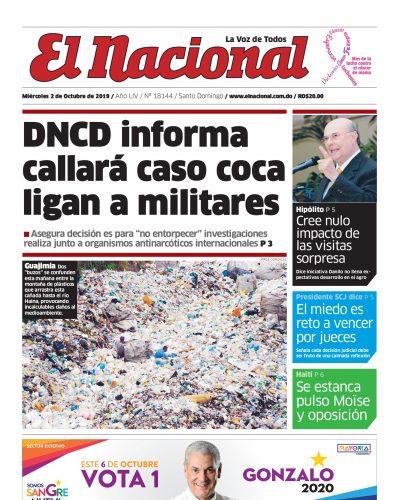Portada Periódico El Nacional, Miércoles 02 de Octubre, 2019