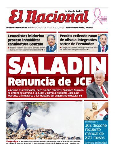 Portada Periódico El Nacional, Miércoles 07 de Octubre, 2019