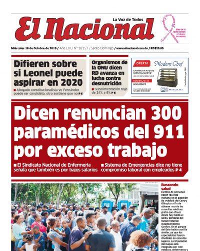 Portada Periódico El Nacional, Miércoles 16 de Octubre, 2019