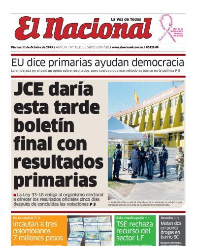 Portada Periódico El Nacional, Viernes 11 de Octubre, 2019