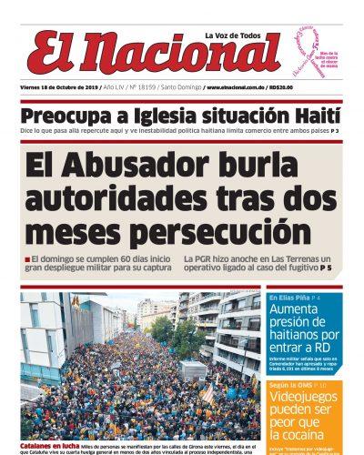 Portada Periódico El Nacional, Viernes 18 de Octubre, 2019