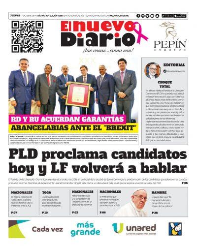 Portada Periódico El Nuevo Diario, Jueves 17 de Octubre, 2019