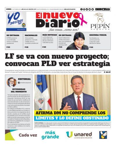 Portada Periódico El Nuevo Diario, Lunes 21 de Octubre, 2019