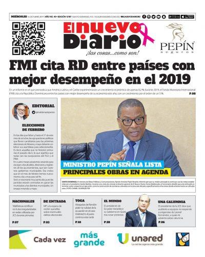 Portada Periódico El Nuevo Diario, Miércoles 16 de Octubre, 2019