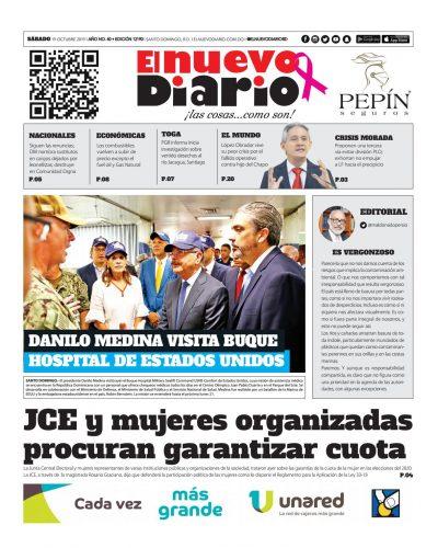 Portada Periódico El Nuevo Diario, Sábado 19 de Octubre, 2019