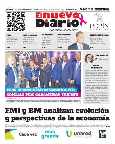 Portada Periódico El Nuevo Diario, Viernes 18 de Octubre, 2019
