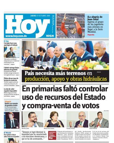 Portada Periódico Hoy, Jueves 17 de Octubre, 2019