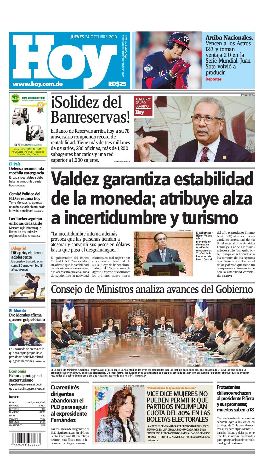 Portada Periódico Hoy, Jueves 24 de Octubre, 2019