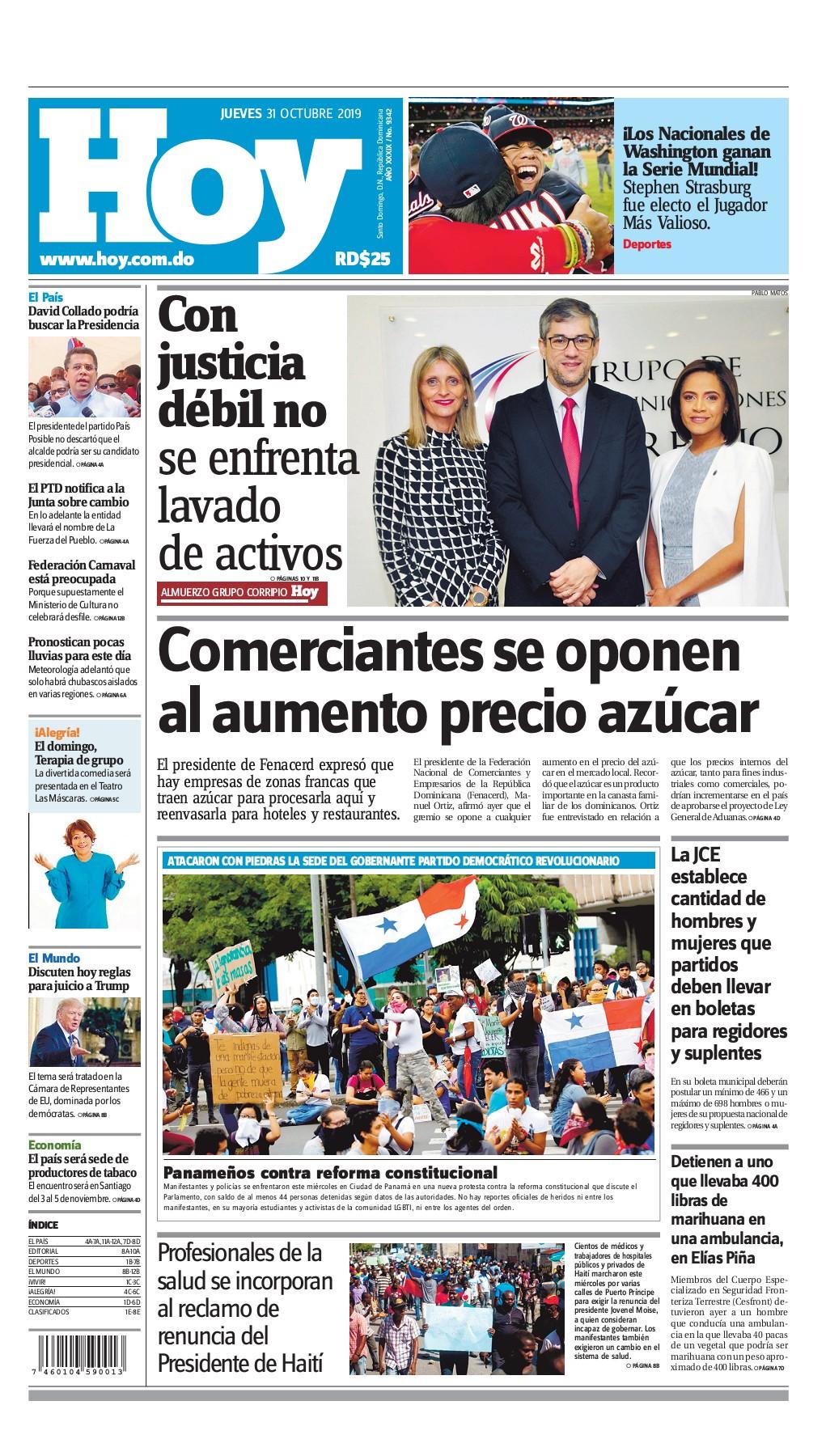 Portada Periódico Hoy, Jueves 31 de Octubre, 2019