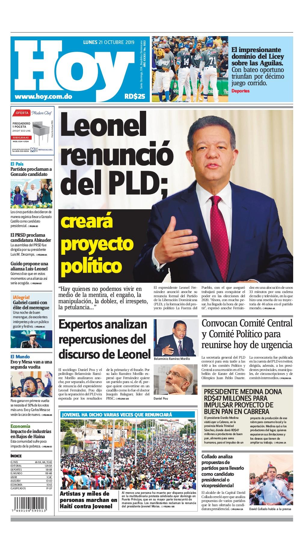 Portada Periódico Hoy, Lunes 21 de Octubre, 2019