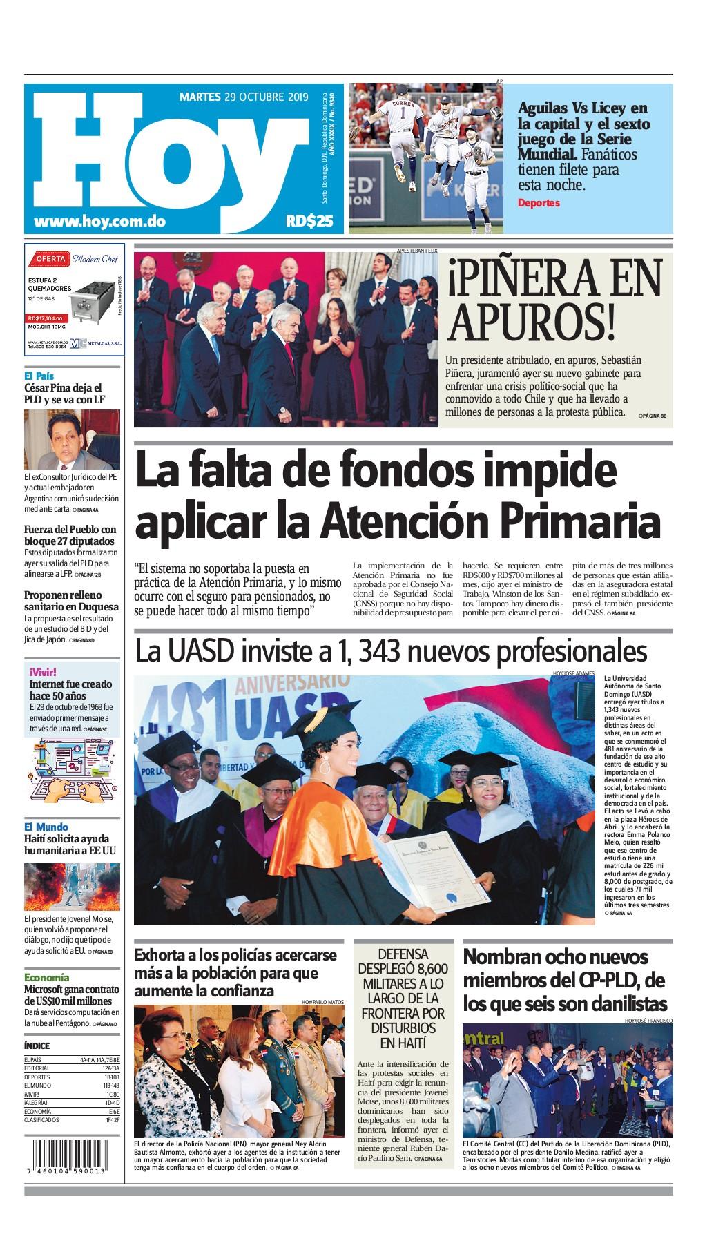 Portada Periódico Hoy, Martes 29 de Octubre, 2019