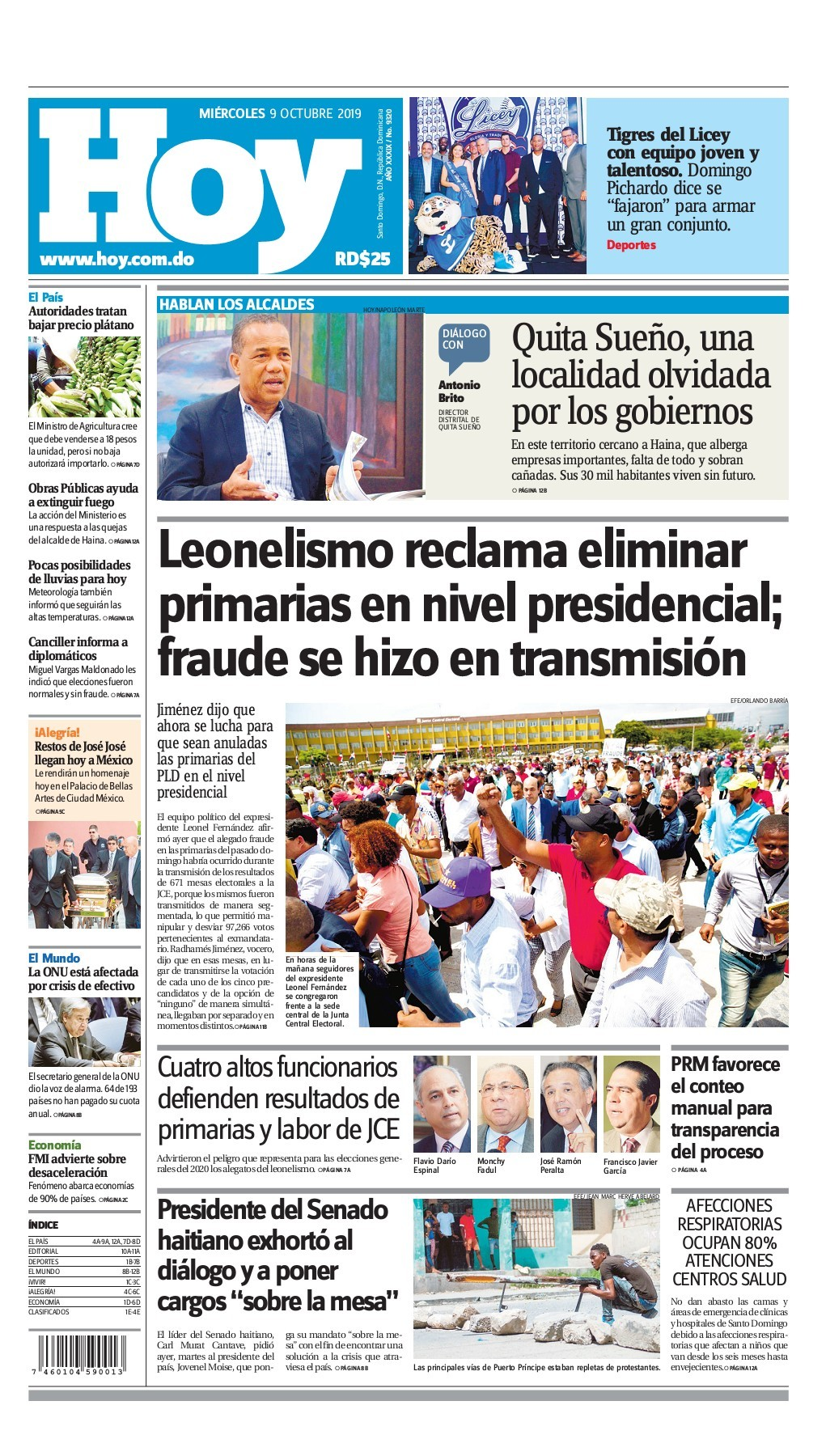 Portada Periódico Hoy, Miércoles 07 de Octubre, 2019