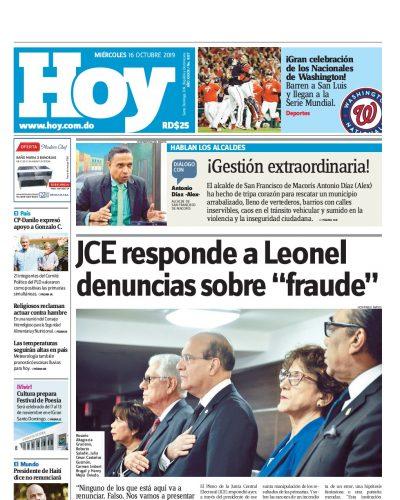 Portada Periódico Hoy, Miércoles 16 de Octubre, 2019