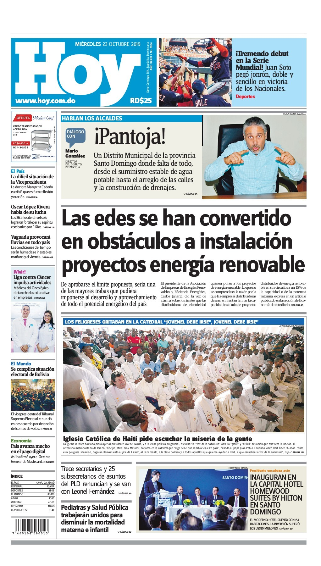 Portada Periódico Hoy, Miércoles 23 de Octubre, 2019