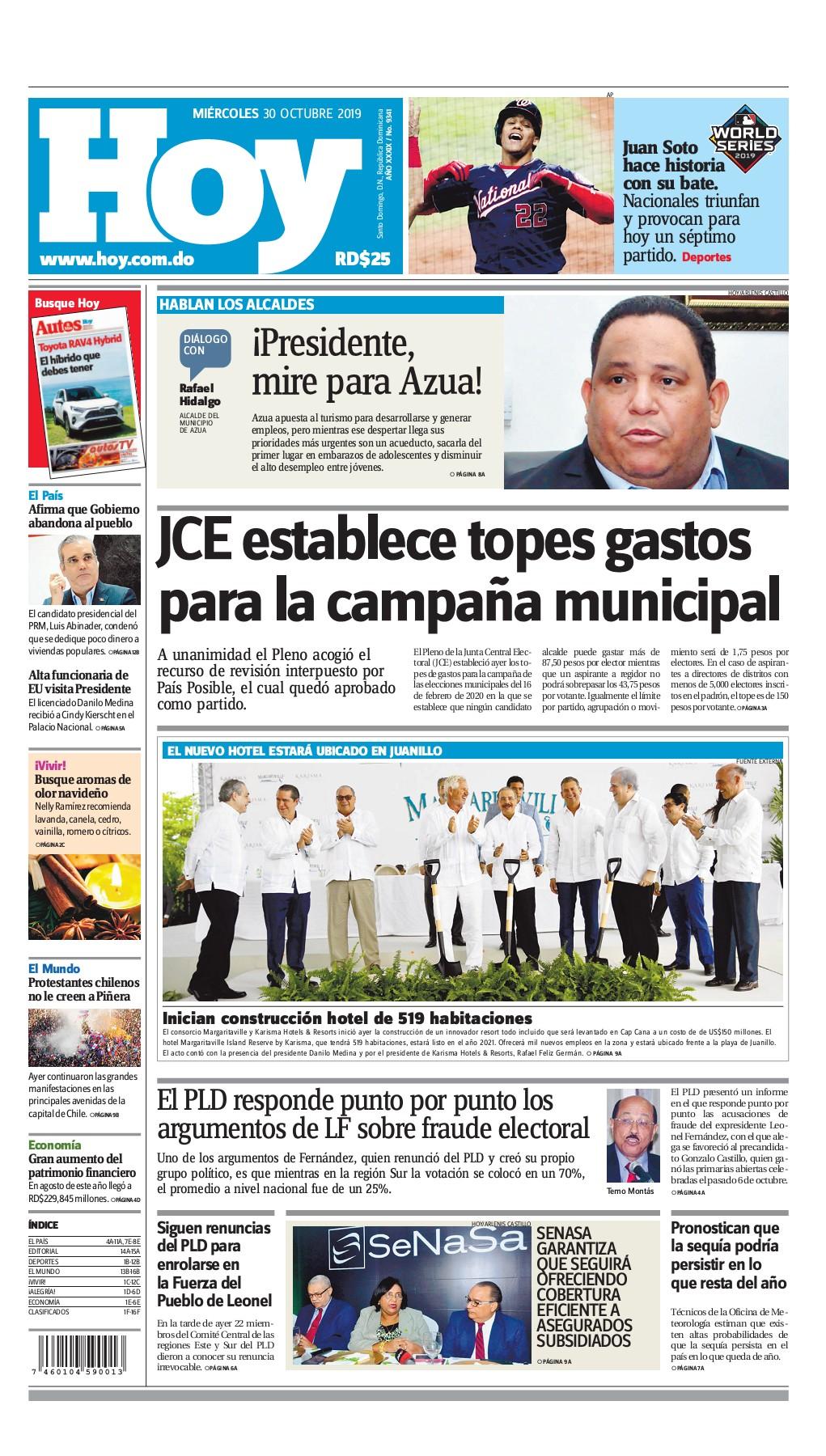 Portada Periódico Hoy, Miércoles 30 de Octubre, 2019