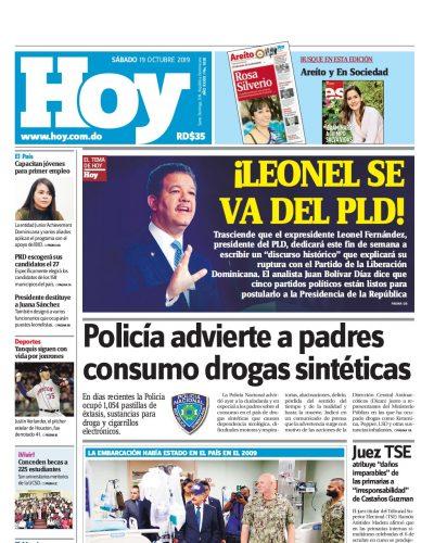 Portada Periódico Hoy, Sábado 19 de Octubre, 2019