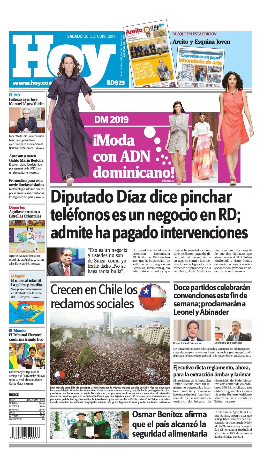 Portada Periódico Hoy, Sábado 26 de Octubre, 2019