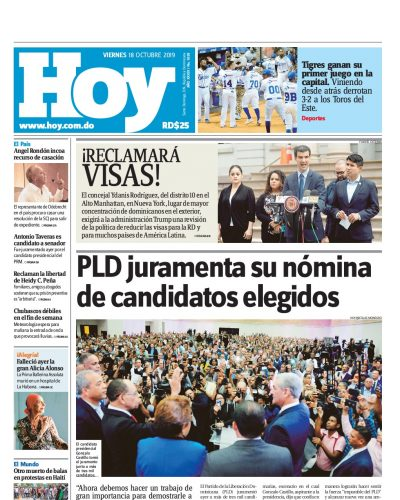 Portada Periódico Hoy, Viernes 18 de Octubre, 2019