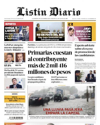 Portada Periódico Listín Diario, Jueves 03 de Octubre, 2019