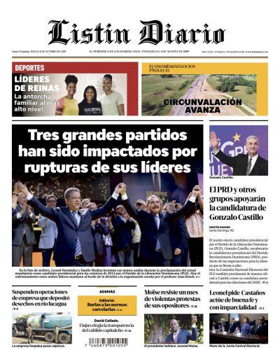 Portada Periódico Listín Diario, Jueves 17 de Octubre, 2019