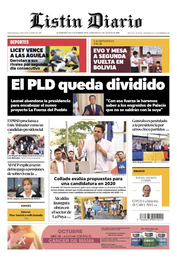 Portada Periódico Listín Diario, Lunes 21 de Octubre, 2019