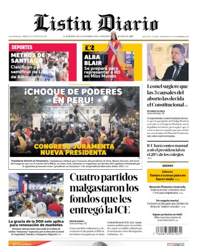 Portada Periódico Listín Diario, Martes 01 de Octubre, 2019