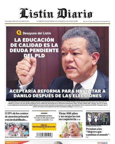 Portada Periódico Listín Diario, Miércoles 02 de Octubre, 2019