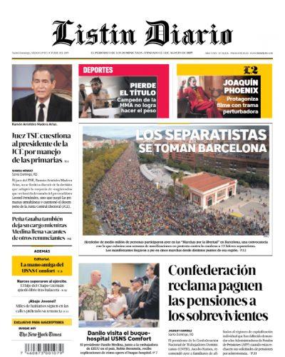 Portada Periódico Listín Diario, Sábado 19 de Octubre, 2019