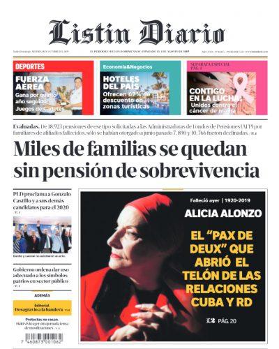 Portada Periódico Listín Diario, Viernes 18 de Octubre, 2019