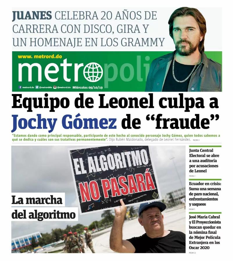 Portada Periódico Metro, Miércoles 07 de Octubre, 2019