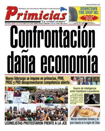 Portada Periódico Primicias, Domingo 13 de Octubre, 2019