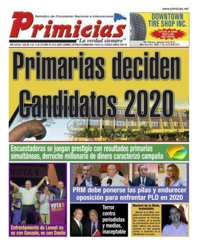 Portada Periódico Primicias, Lunes 05 de Octubre, 2019