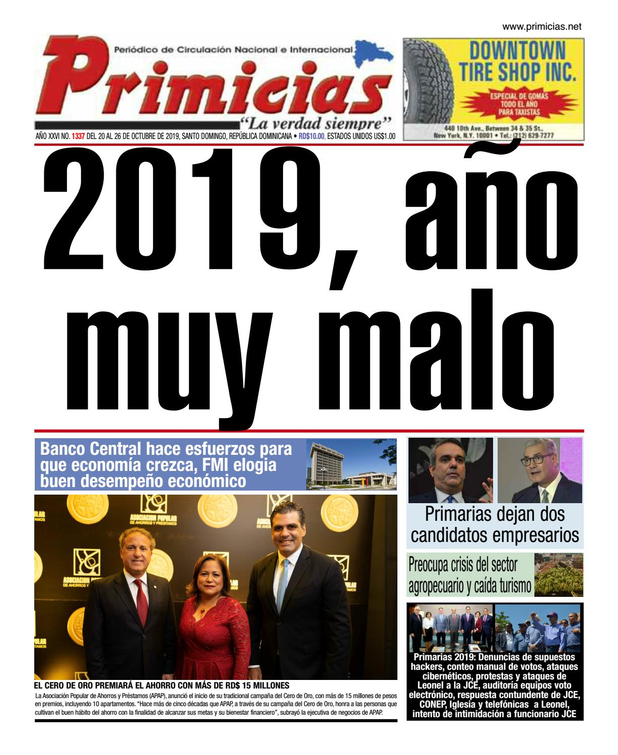 Portada Periódico Primicias, Lunes 21 de Octubre, 2019